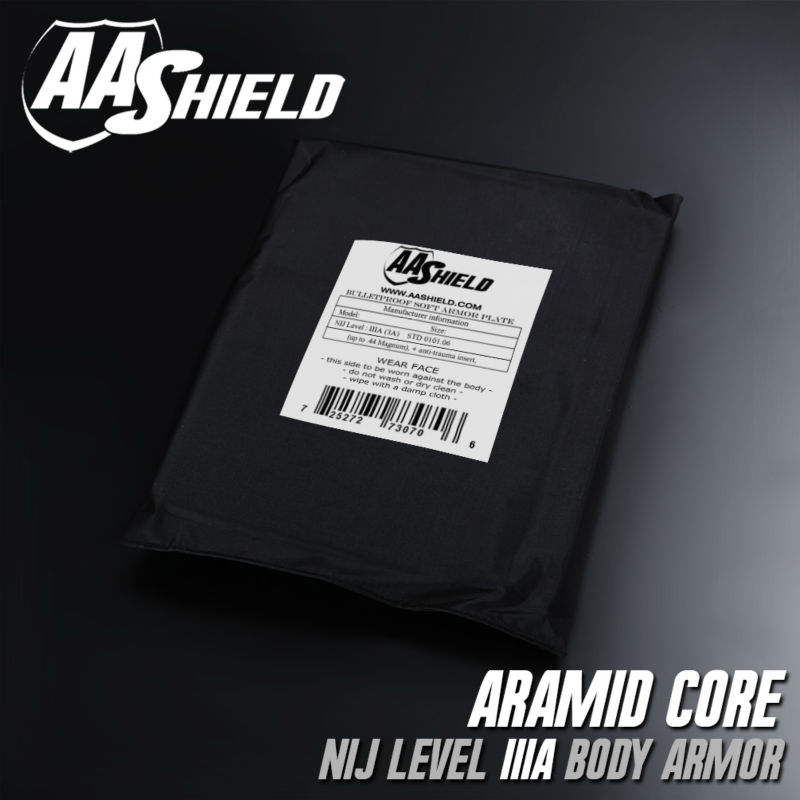 AA Shield Bullet Proof Soft Panel Body Armor Inserts Plate Aramid Core Self Defense Supply NIJ Lvl IIIA 3A 8X10