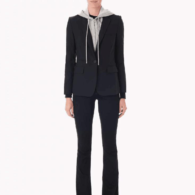 High Quality Newest Spring Designer Women's Blazer Jacket Zip Hooded Removable Single Buttons Office Blazer Female Outerwear