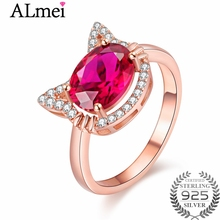 almei red corundum kitty cat head rings for women 925 sterling silver rose gold color jewelry - Cat Valentine Box