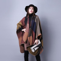 2017 New Brand Large Size Womens Winter Poncho Vintage Blanket Womens Lady Knit Shawl Cape Cashmere Scarf Poncho Free Shipping