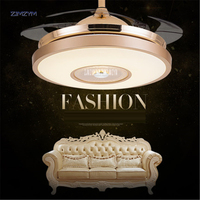 42 inch Modern Invisible Fan lights Acrylic Leaf Led Ceiling Fans 110v 220v Wireless remote control ceiling fan light 42 YX0098