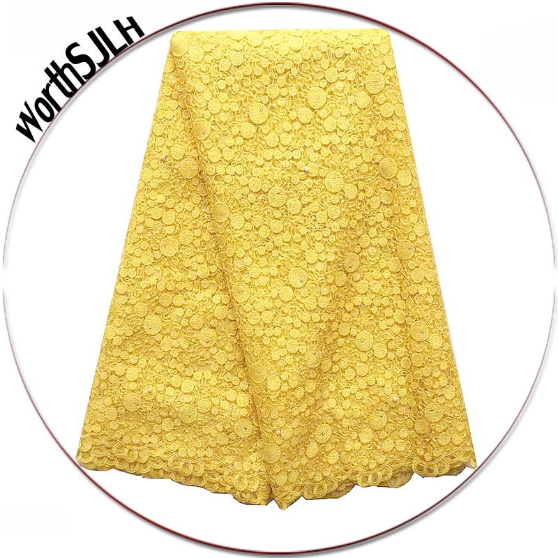 African Lace Fabric 2018 High Quality Lace For African Parties White Gold Yellow Lace Fabric New