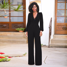 England Style elegant long flare trousers jumpsuit summer autumn 2018 sexy v neck lace up Casual