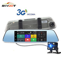 SKydot 7 Inch 3G Touch GPS DVR Dual Lens Bluetooth Rearview Mirror Android 5 0 Car