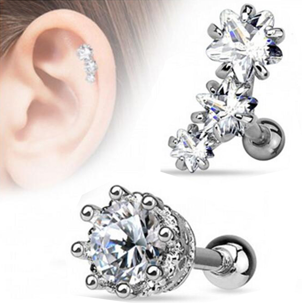 Cartilage CZ Prong Star Crystal Jewelry Stainless Steel Body Piercing Ear Stud