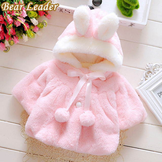 Bear Leader 2017 Winter Baby Hooded Girls Coat Rabbit Baby Soft Flannel Cloak Toddler Clothes Girls Cape Outerwear Baby Clothing