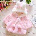 Líder urso 2017 do bebê de inverno com capuz casaco meninas do bebê coelho macio flanela manto capa outerwear bebê criança roupas meninas clothing