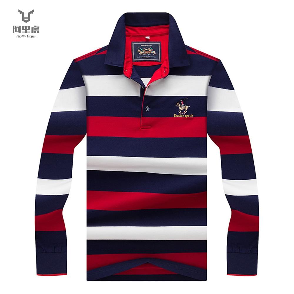 Hollirtiger 2019 Autumn Spring Mens POLO Shirt Male Turn-down Collar Cotton Polo Shirt Men Long Sleeve Stripes Embroidered Tees