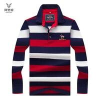 Hollirtiger 2019 Autumn Spring Mens POLO Shirt Male Turn down Collar Cotton Polo Shirt Men Long Sleeve Stripes Embroidered Tees