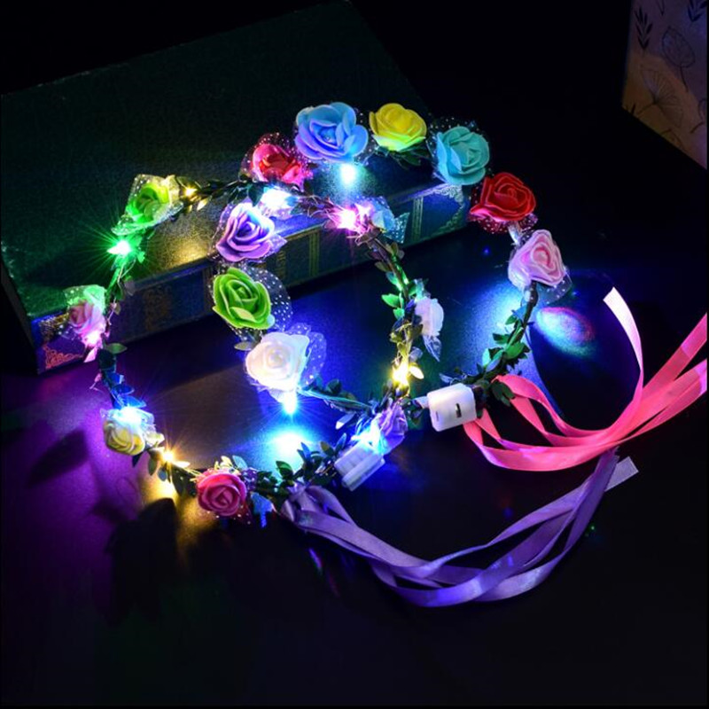 Glow Party Supplies Festive & Party Supplies The Best 2018 New Led Flashing Flower Headband Women Girls Blinking Glowing Garland Wreath Halloween Glow Party Supplies