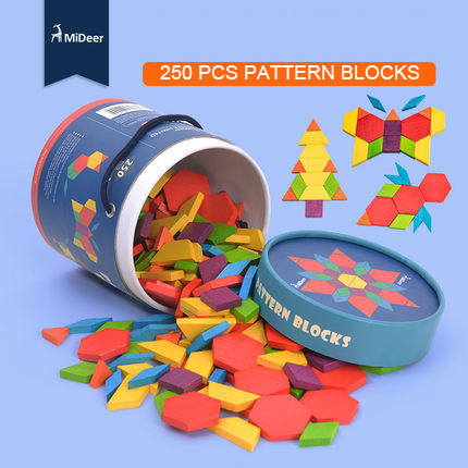 Mideer 250pcs Children Colorful Beech Wooden Pattern Blocks Geometry Shape Recognition Flower Blocks Classic Toy Gifts effective dimensionality reduction in pattern recognition
