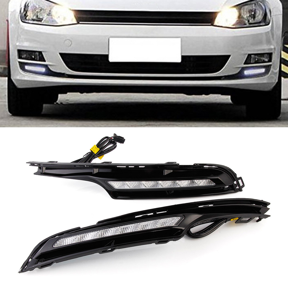Car Light Assembly LED Day Lights DRL Driving Lamp Daytime Running Light For Volkswagen Golf 7 2013-16 2pcs/set eouns led drl daytime running light fog lamp assembly for volkswagen vw golf7 mk7 led chips led bar version