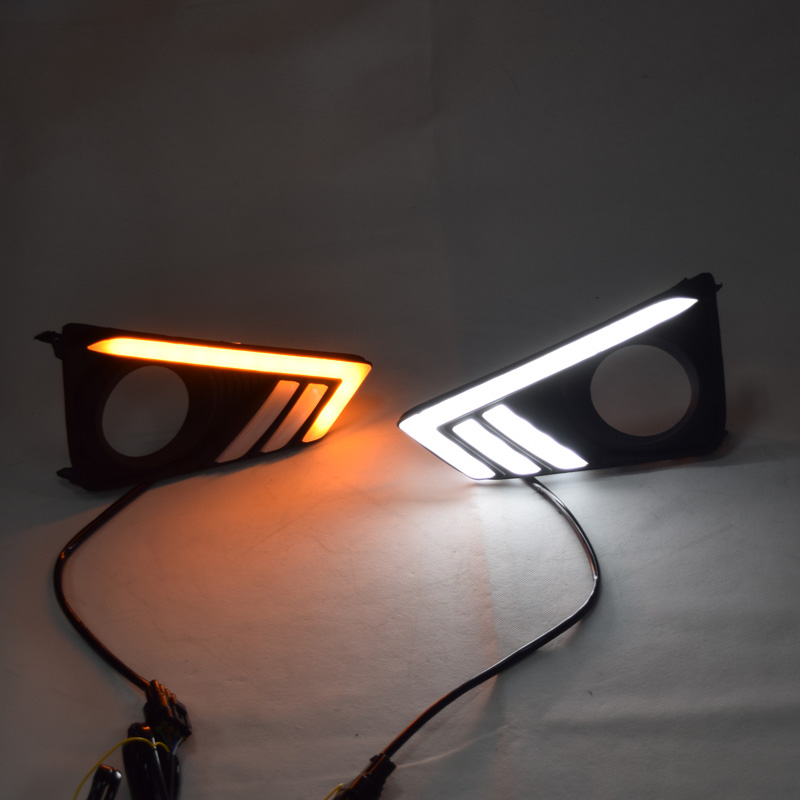 QINYI led drl daytime running light for Toyota Mark X Reiz with yellow turn signal and wireless control