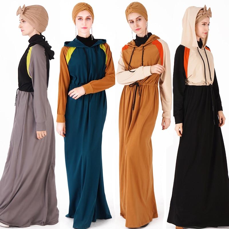 Printemps Sport Caftan Abaya dubaï Hijab robe musulmane turquie Jilbab Caftan Ramadan Abayas pour les femmes Elbise turc vêtements islamiques