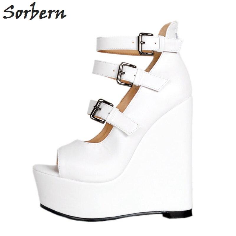 Zapatos Blanco Cuña En Toe Mujeres Slip Peep De Las Tacones Los Sorbern Mujer 2018 Plataforma Verano RdCwPqq