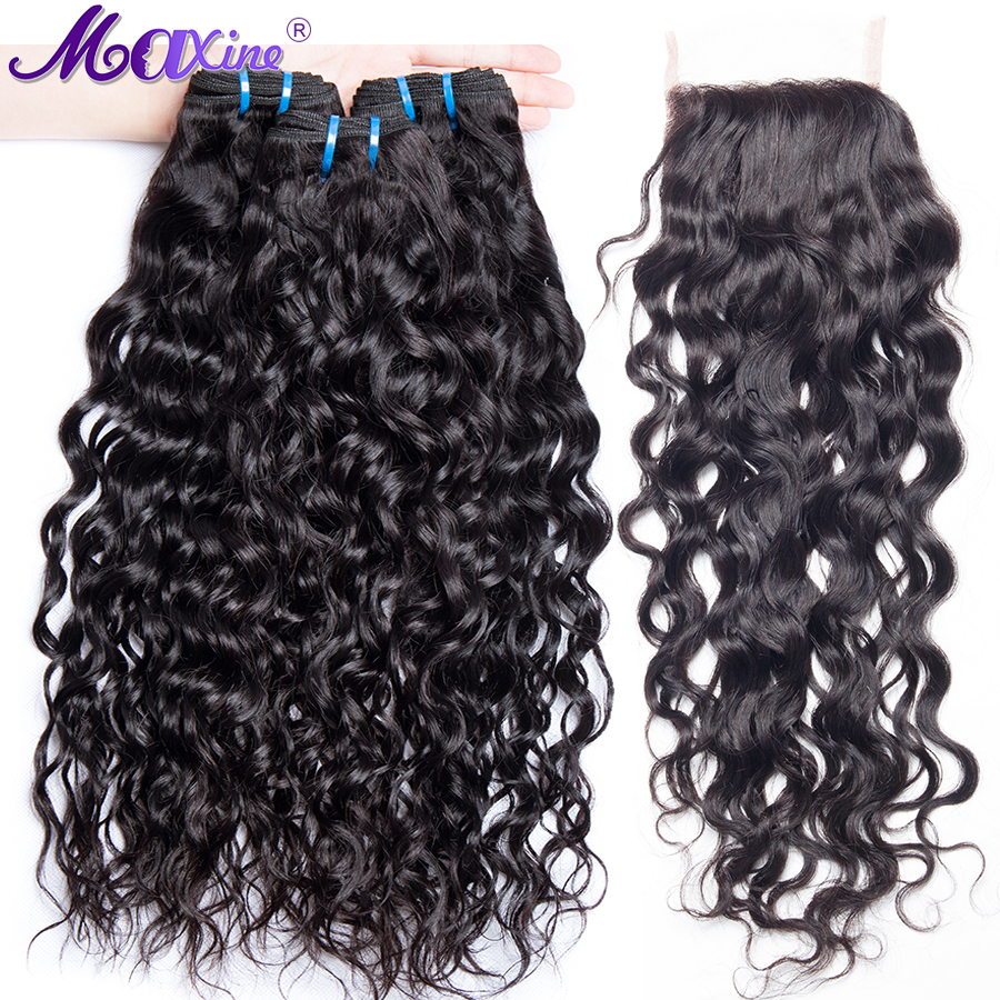 Maxine Water Wave Bundles With Closure 3 Bundles Peruvian Hair Free Part Lace Non Remy 4