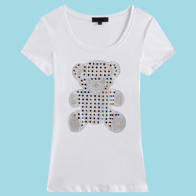 LIKEPINK 2016 Women Clothes T Shirt Women Sequined Bear Pattern T-Shirt Summer Casual Plus Size Women Clothing Camiseta
