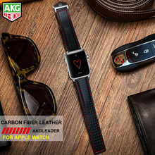 AKGLEADER Watchband For Apple Series Genuine Leather Band Carbon Fiber Style Wrist Strap Bracelet iWatch 38-42mm