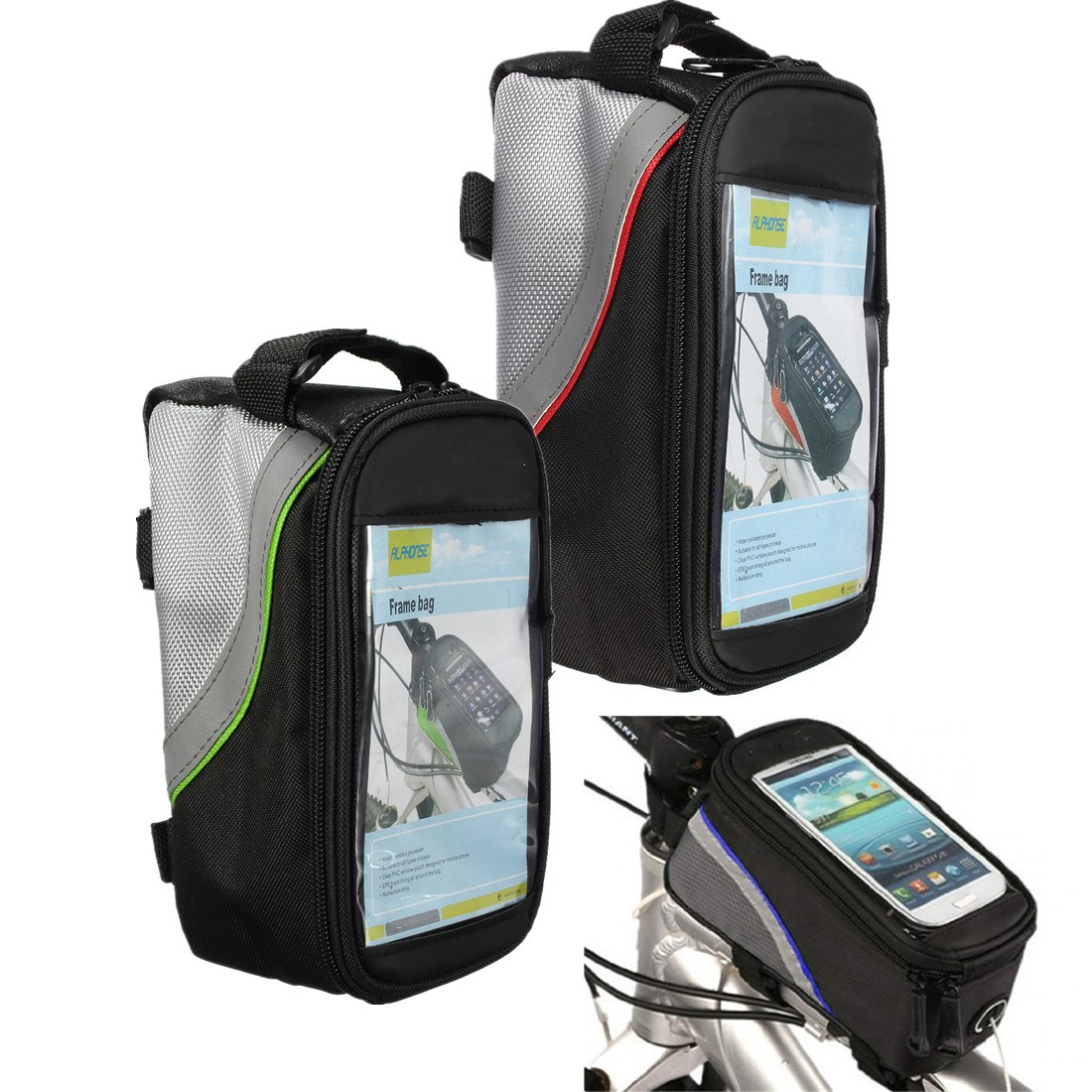 Cycling Bike Bicycle Frame Front Panniers Top Tube Bag Phone Holder Case Durable