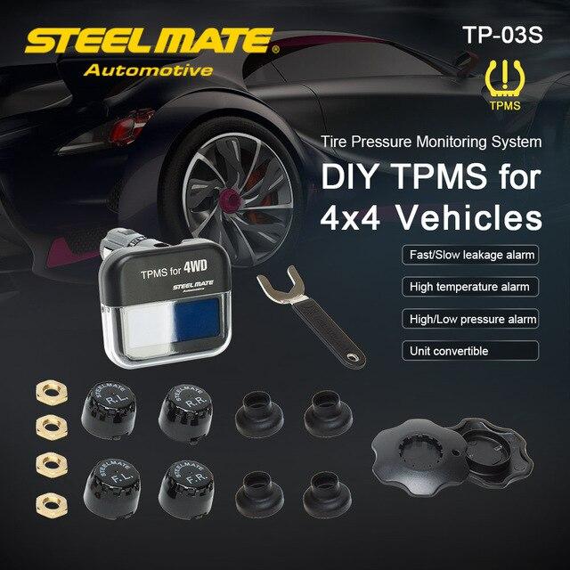 Steelmate TP-03S TPMS Tire Pressure Monitoring System with LCD Display Cigarette Plug 4 Valve-cap External Sensors Steel mate