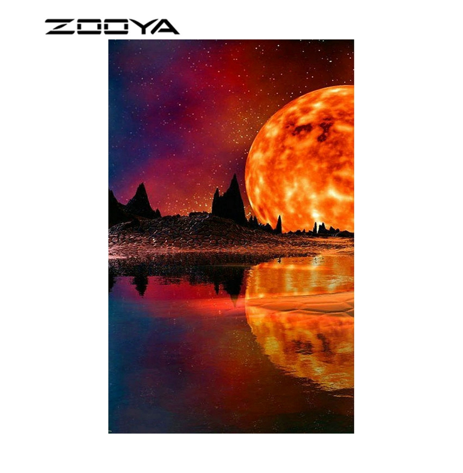 ZOOYA diy Full Square, round Rhinestone Diamond Embroidery Fireball scenery 5d Diamond Mosaic needlework Diamond PaintingsHR6074