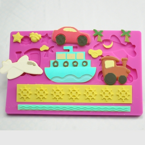 Fondant cake decorating Ship car Aircraft plane Silicone cake mold