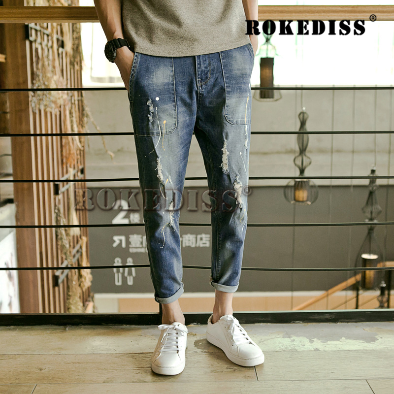 Mens Winter Jeans Lined Stretch Denim For Jeans Men 2016 Designer Slim Fit Brand Trousers ripped Jeans Pants C023