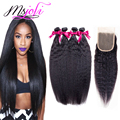 Brazilian Virgin Hair with Closure Kinky Straight Hair with Closure Yaki Straight Hair Weave Coarse Yaki Human Hair With Closure