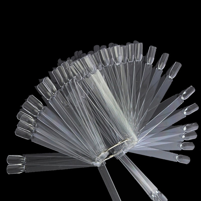 50PC Transparent Nail Display False Nail Art Clear Fan Wheel Polish UV Gel  Practice Tip Sticks Fake Nails Beauty for Women Lady