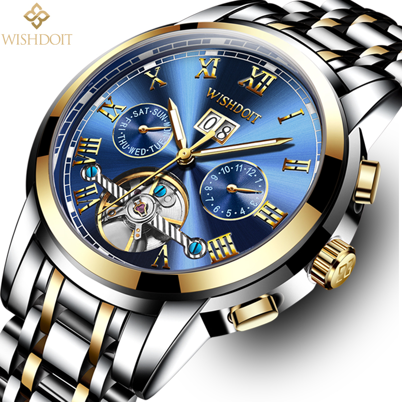 WISHDOIT Men's Watchs Top Luxury Brands Casual Fashion Business Sports Bands Men Mechanical Watch Waterproof Military Male Clock waase aluminum chain adjusters with spool tensioners catena for yamaha yzf r6 2006 2007 2008 2009 2010 2011 2012 2013 2014 2016
