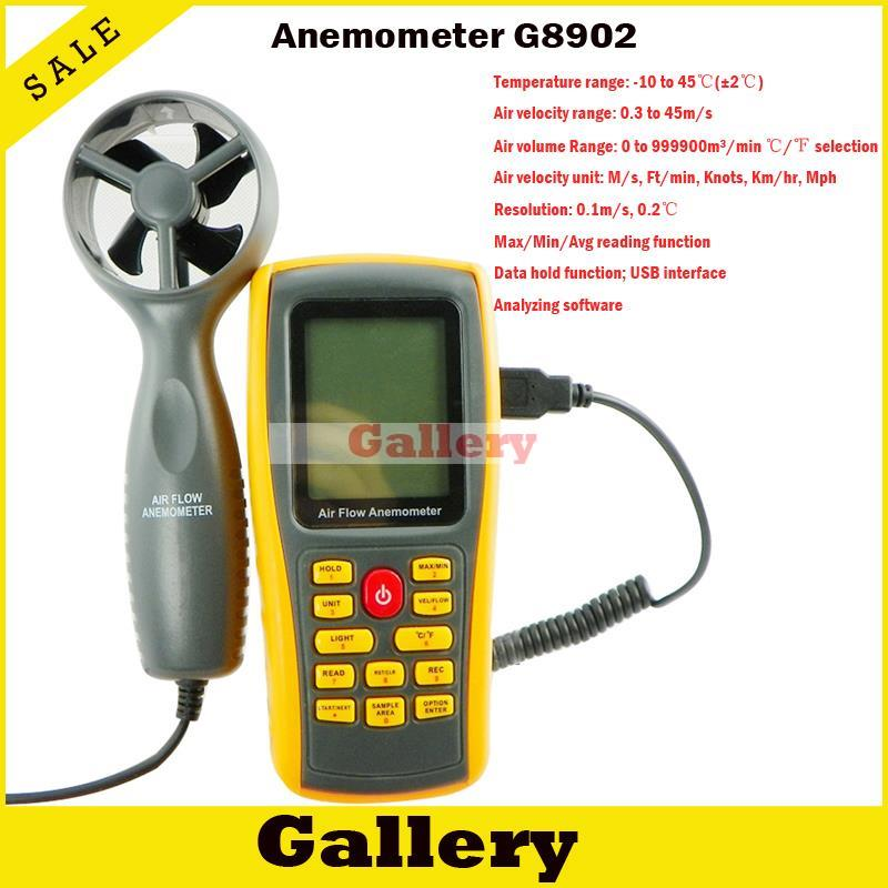 Anemometro Digital Sale Rpm Tachometer Wind Anemometer Gm8902 with Computer Software Available Online Measurement And Analysis