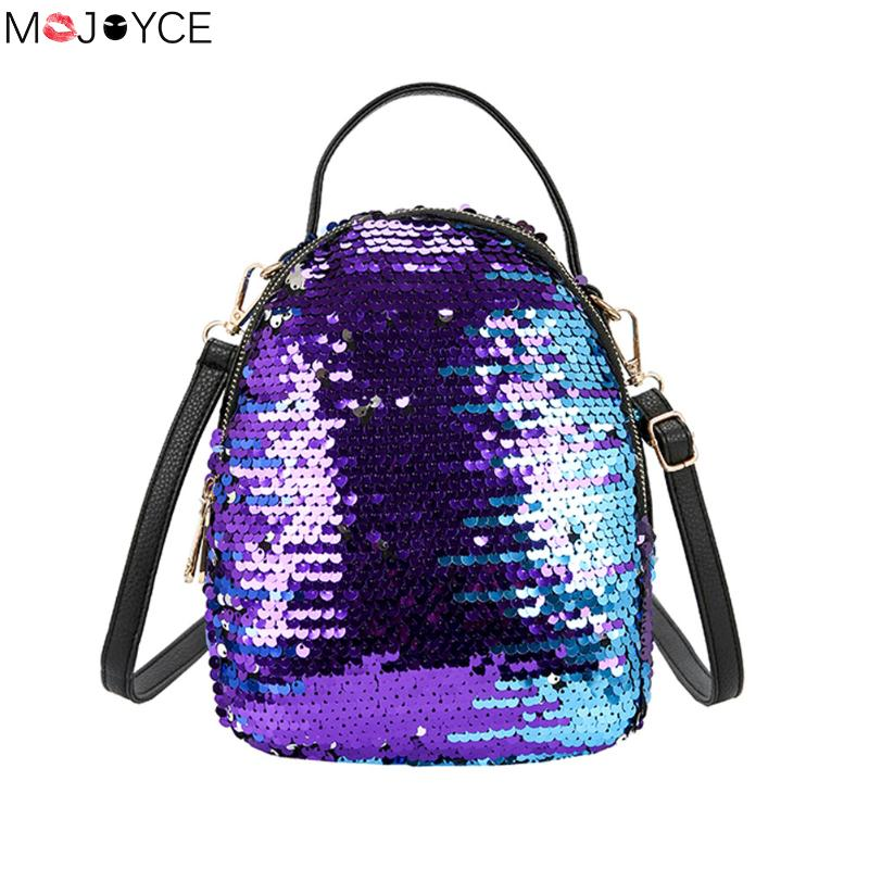 New Women Bling Sequins Glitter Backpack for Teenager Girls mochila Princess Backpack Bag Rucksack Small Casual Shoulder Bags women sequin backpack mochila lentejuelas teenager girl school bags bling bling lady backpacks bolsa feminina sac a main femme
