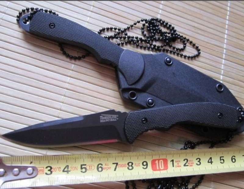 7223 Necklace Straight Tactical font b Knife b font Fixed Blade Outdoor Survival Cutting Tools for