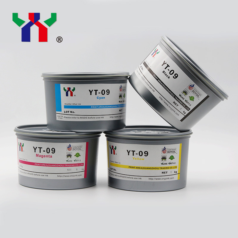 YT-09 High Color Density And Quick Dry Offset Ink For Paper,CMYK,Total Is 4kg