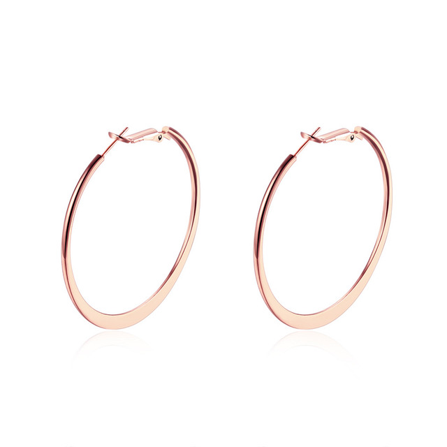 Big Round Earrings For Women Trendy Rose Gold Color Fashion Jewelry