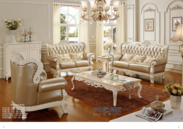 Luxury European Royal Style Golden Oak Solid Wood Leather Sofas Couches Living Room Furniture Sets
