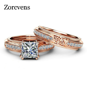 ZORCVENS New High Quality Rose Gold Color Hollow Vintage Ring Set AAA Square Cubic Zirconia Ring