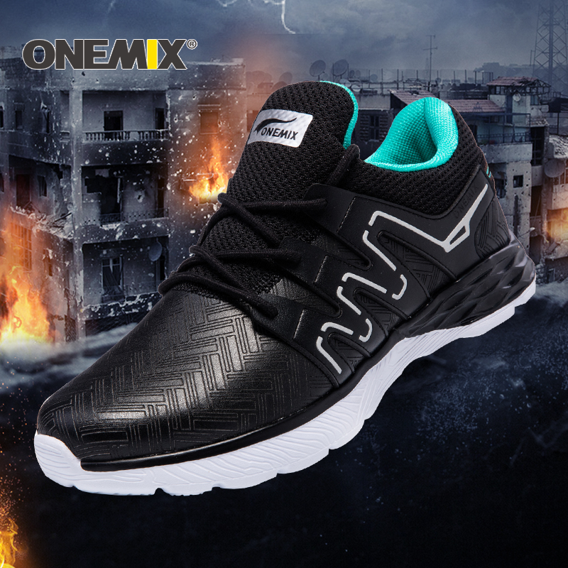 Onemix Men Running Shoes Warm Autumn Winter Leather Shoes Reflective Male Athletic Shoes Outdoor Sport Sneakers