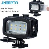 JINSERTA 30M Underwater Diving Waterproof LED Flash Light Lamp 2pcs Rechargable Batteries Diving Filter For Gopro