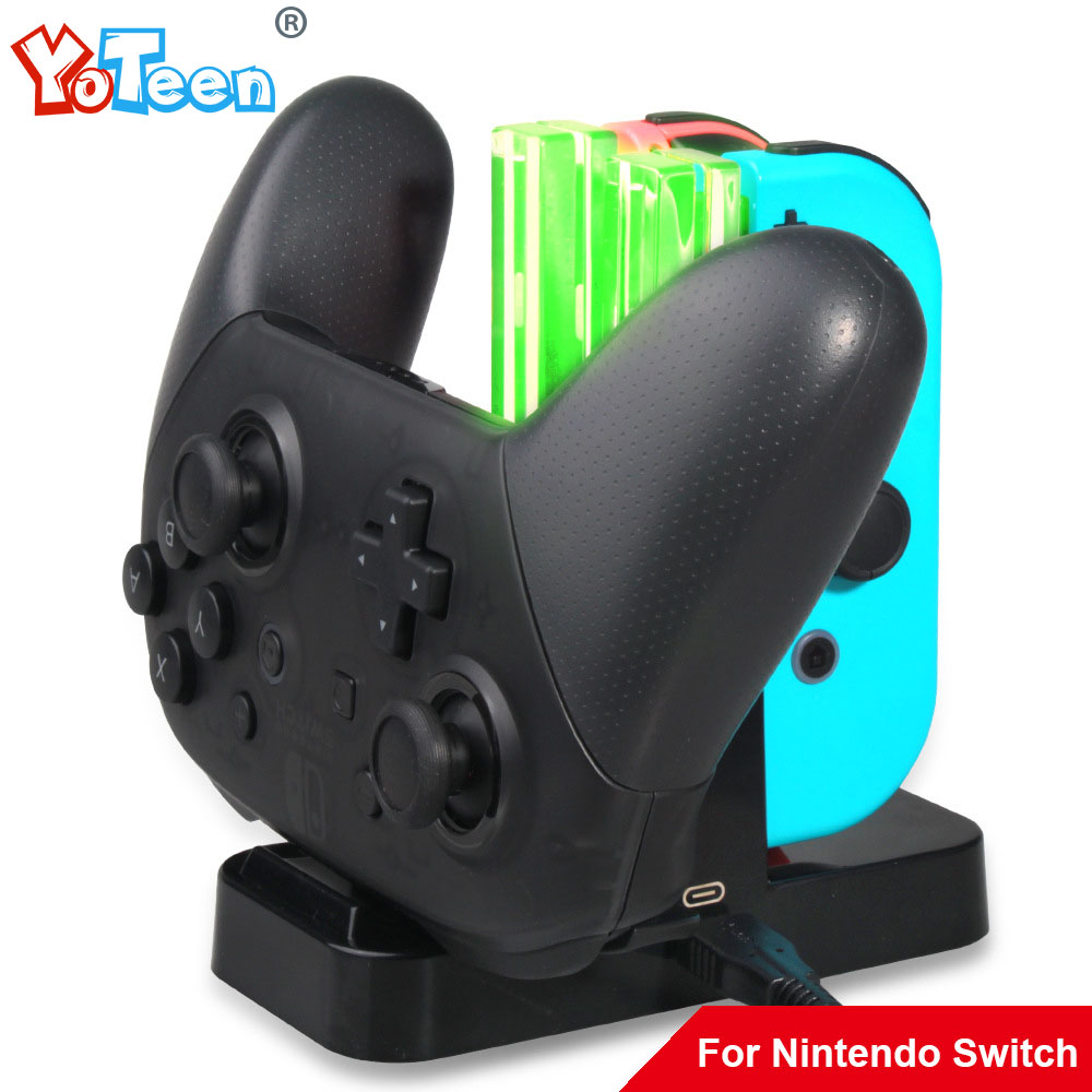 Yoteen For Nintend Switch Joy-Con Charger 4 in 1 USB Charging Dock Stand For Pro Controller Charger with LED Indication