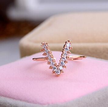 Fashion Women Jewelry Letter v    Rgp  plated gold color Plated Zircon Crystal Rings  ABC