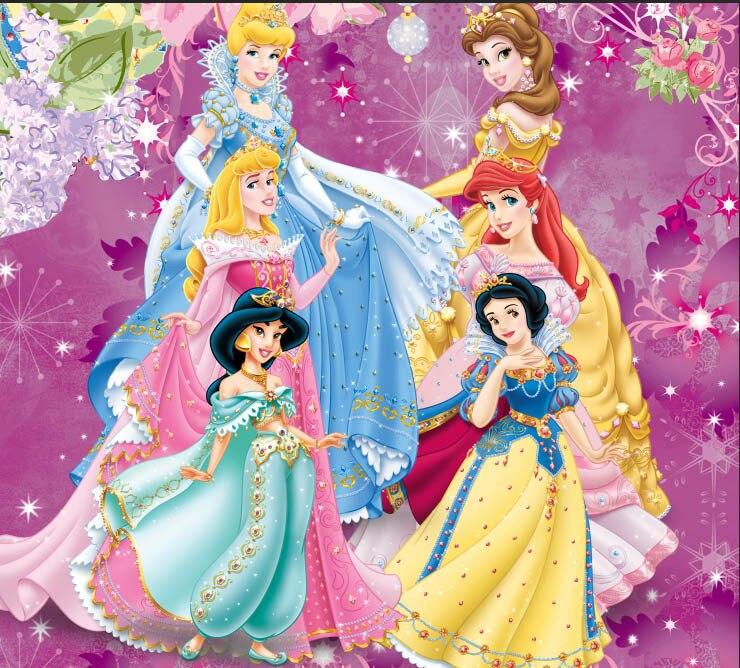 8x8FT Flowers Pattern Aurora Belle Ariel Jasmine Fairy