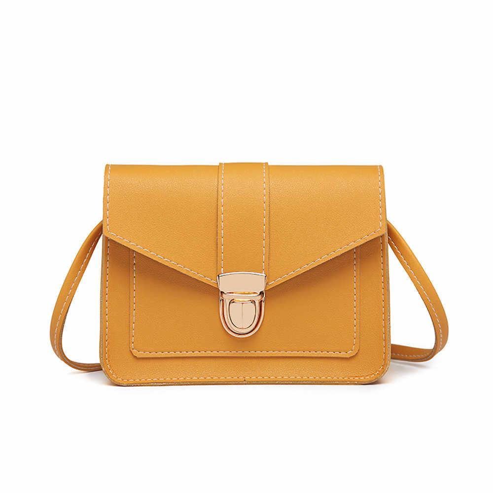 Fashion Kecil Tas Selempang untuk Wanita 2018 Mini Pu Kulit Bahu Messenger Tas untuk Gadis Kuning Bolsas Wanita Ponsel Dompet