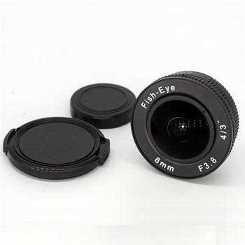 新しい8mm f3.8 Cマウント43サムスンNXソニーNEXカメラ+ C-EOS Mアダプター+ EOS Mレンズリアキャップキヤノンef 75-300mm f / 4-5.6 iii用EOS M M2 M3の魚眼ミラーレス