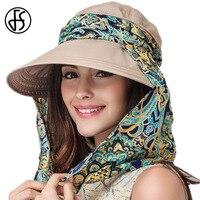 FS Verão Chapéus Para Mulheres Dobráveis Chapéu de Algodão Cáqui Azul Cinza Proteger Chapéus de sol Viseiras Cap Para Senhoras Praia Casual Chapeu Feminino