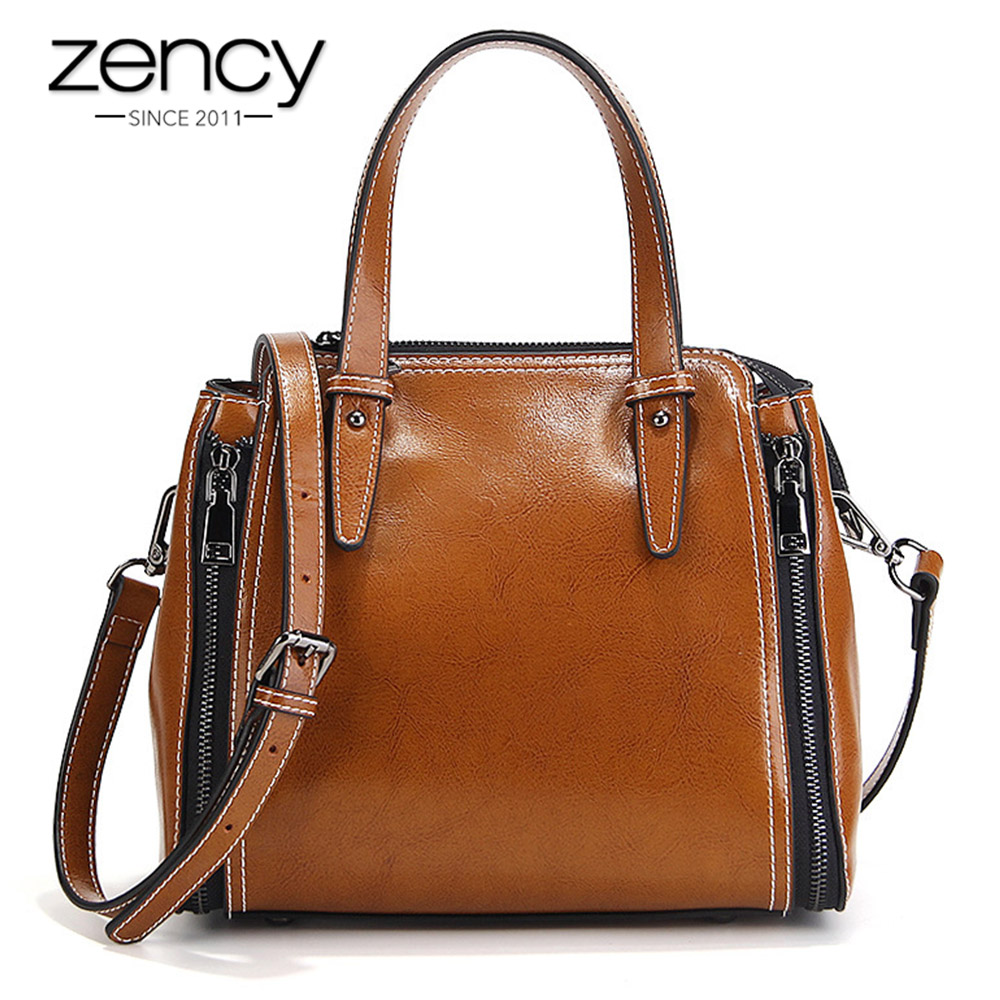 Zency More Zippers Fashion Women Tote Bags 100% Genuine Leather Fashion Female Shoulder Messenger Handbags 5 Colors High Quality