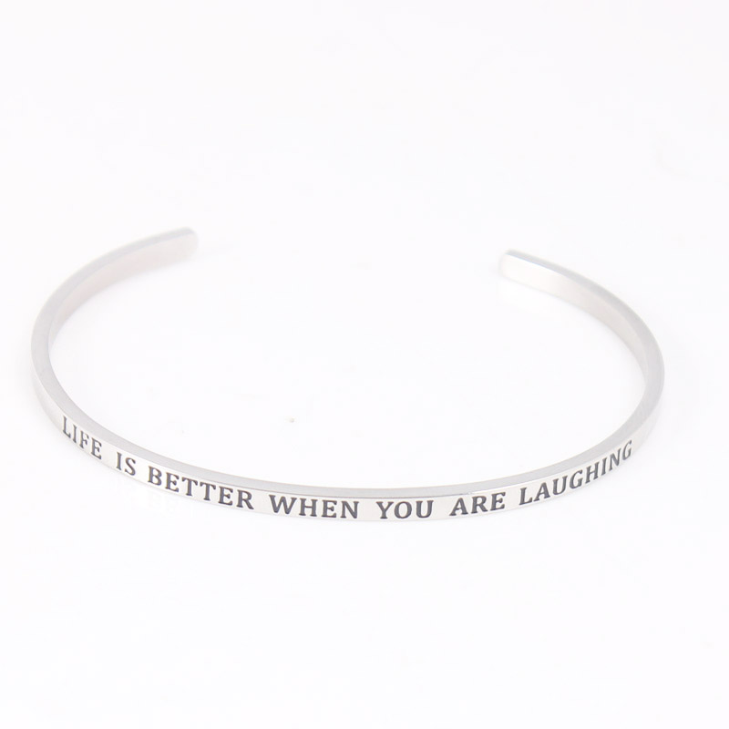 2017 316L Stainless Steel Bracelet Engraved Imagine Positive Inspirational Quote Cuff bracelet Mantra Bracelet Bangle For Women in Bangles from Jewelry Accessories