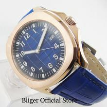 BLIGER Luxury Crystal Sterile Dial 39mm Automatic Mens Watch With Gold Plated Case Date Window