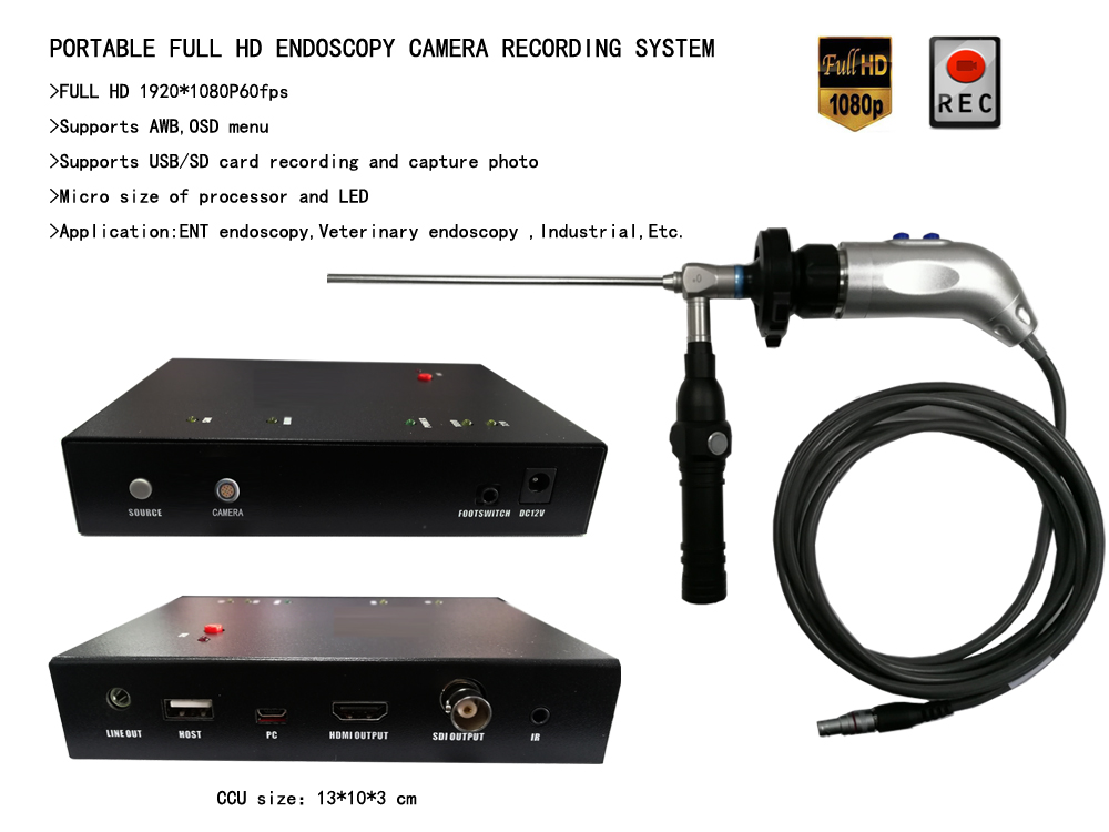 Portable 1080P FULL HD medical & industrial endoscope camera USB recorder capture SDI  HDMI for animal surgery,ENT endoscopy