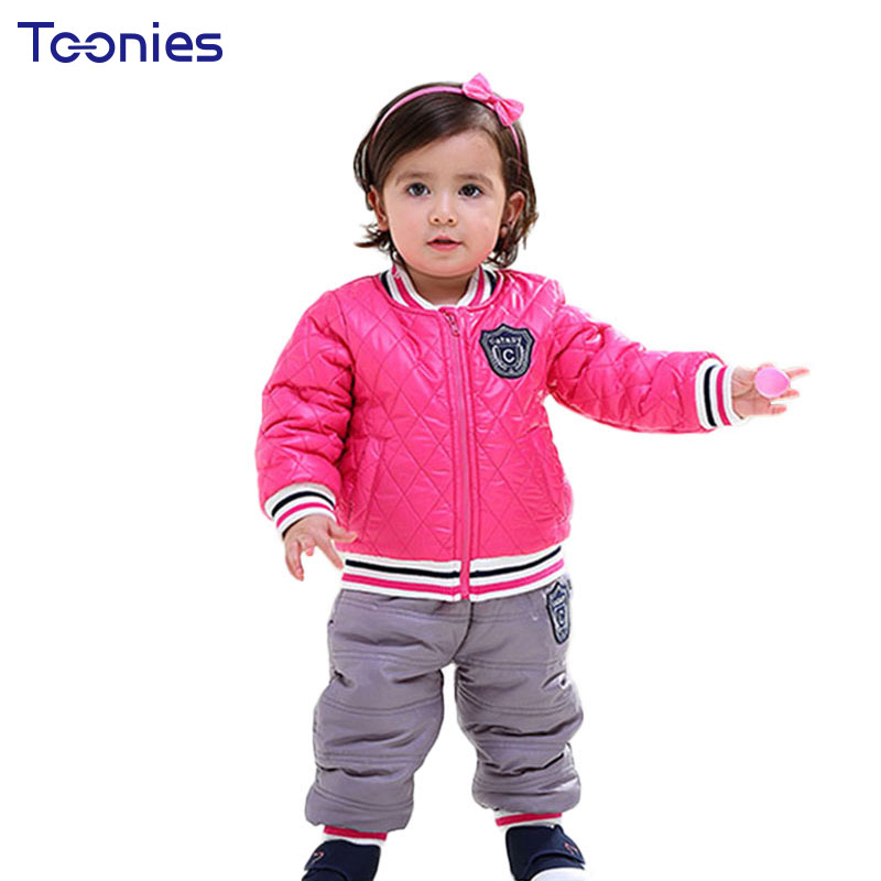Hot Sale Baby Suits 2018 Winter Toddler Clothes Thick Kids Clothing Sets New Fashion Badge Boy Sportswear Girl Coat + Pants 2pcs toddler girls hello kitty clothes set winter thick warm clothes plus velvet coat pants rabbi kids infant sport suits w133